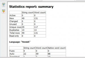 statistics report of a localization project