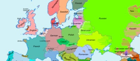 Map of european languages: http://en.wikipedia.org/wiki/Languages_of_Europe